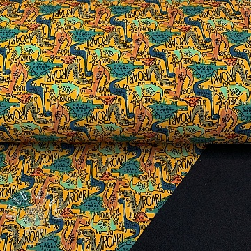 Softshell zimný The dinos are back yellow digital print