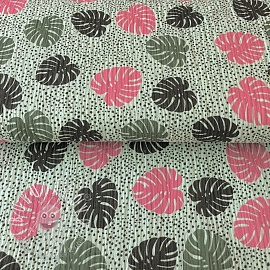 Double gauze/muslin Pretty palms mint