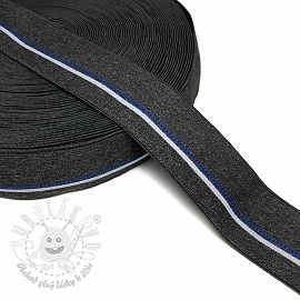 Guma hladká 4 cm BLUE STRIPE anthracite
