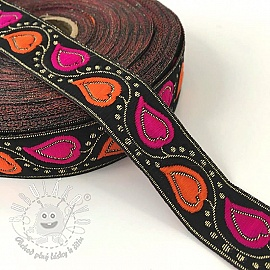 Jacquard Leaves black/orange