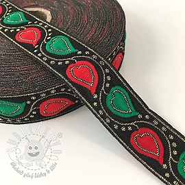 Jacquard Leaves black/red