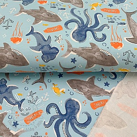 Teplákovina Deep sea life light blue