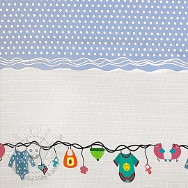 Úplet Childhood light blue border digital print