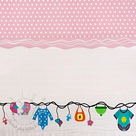 Úplet Childhood light pink border digital print
