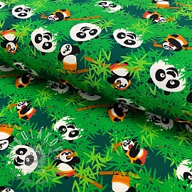 Úplet KUNG FU PANDA Hide and seek dark green digital print