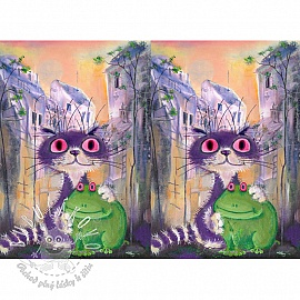 Úplet Psycho frog and cat digital print panel